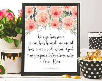 Bible verse art print Watercolor Christian wall decor Printable Scripture wall art Christian gift Christian wall art print 1 Corinthians 2:9