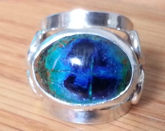 Azurite Malachite Ring Size # 6.5