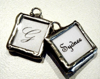 Custom MINI CHARM photo memory soldered glass charms reversible with your 2 pictures or images personalized boutonniere memorial groom
