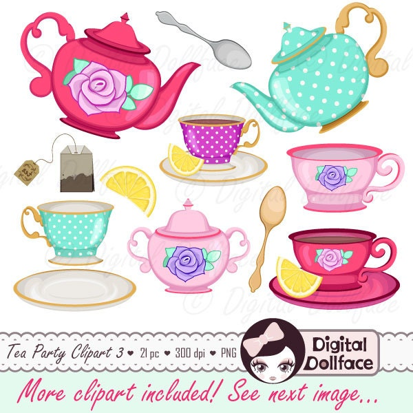 tea cup clip art tea party bridal shower clipart high tea rh etsy com tea party clipart tea party clipart
