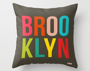 Brooklyn Pillow - Decorative throw pillow cover - New York Modern pillow cover - Designer pillow case - City pillow case - America pillow
