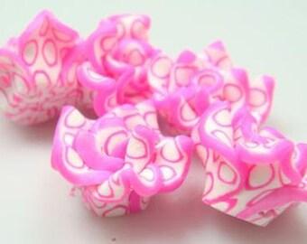 5 Piece Handmade Pink Clay Flower Bead Cabochons - Kawaii Decoden Flatback (TDK-C1417)