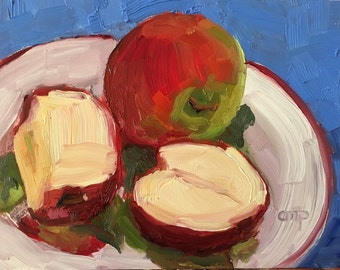 Apple Still life original oil painting, kitchen art, fruit art, impressionist 5x7 painting, wall candy, gift, affordable art, etsypainters