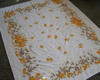 Vintage Tablecloth ~ Orange Roses Daises