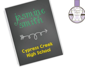 Personalized spiral notebooks school notebooks chalkboard style notebooks student notebooks