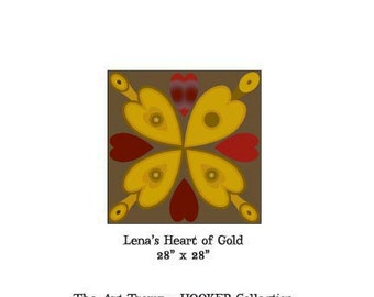 """Lena's Heart of Gold ~ 28"""" x 28"""" Paper Pattern for RUG HOOKING by The Art Tramp/HOOKER Collection"""