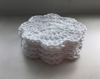 Crochet face scrubbies. Eco-friendly bamboo and cotton face cloths. Washable make up remover pads.
