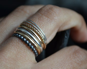 Grape VII - silver and 14kt Gold filled rings - stacking rings - semainier
