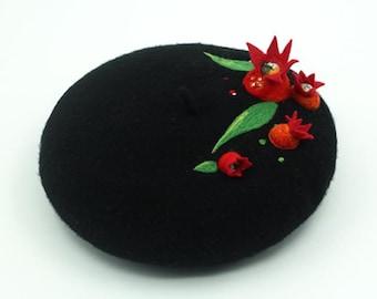 Wool beret for Christmas gift,handmade felted beret with Needle felt pomegranate,Needle Felted hat pattern,wet felt beret