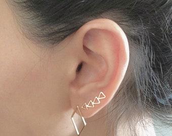 Triangle Climbers Earring , Gold Ear Cuff , Geometric Ear Pin , Statement Ear Cuff , Ear Pin , Ear Climber , Climbing Earrings , Gifts Idea