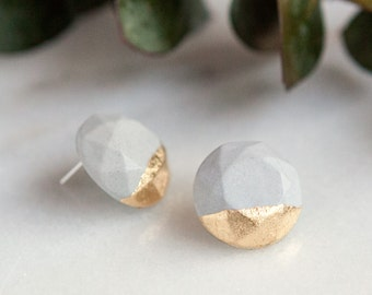 Concrete Circle Earrings with Gold Leaf (light)