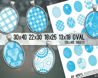Bright Blue White Patterns Digital Collage Sheet  30x40 22x30 18x25 13x18  Oval Image for Glass and Resin Pendants Cameos Paper Craft