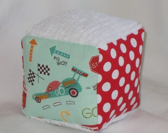 On Our Way Cars and Trucks Fabric and Chenille Boutique Block Rattle - SALE