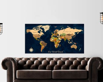 Push pin travel world map extra large wall art world map push pin map push pin travel map push pin world map canvas world map map wall art map of the world map art map print fast shipping gumiabroncs Gallery