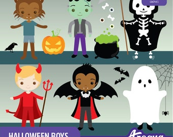 Halloween Boys Clipart Set - Instant Download - PNG Files.