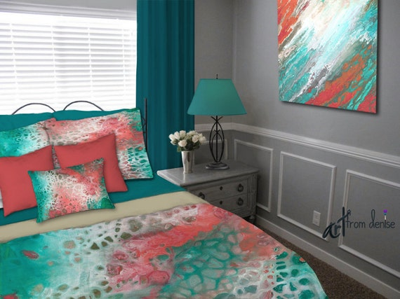 teal gray aqua coral duvet cover queen king full twin. Black Bedroom Furniture Sets. Home Design Ideas
