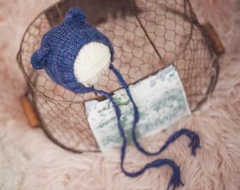 Baby Bear bonnet for NEWBORNS photography prop - Deep blues
