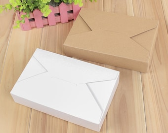 50x Natural Kraft / White Paper Boxes | Bomboniere Favor Box  Wedding Birthday Party Gift Box for Bakery Cookie Cake Slice Bomboniere Boxes