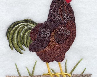 Rhode Island Red Rooster Embroidered  on a Flour Sack Towel Hand Towel Dish Towel
