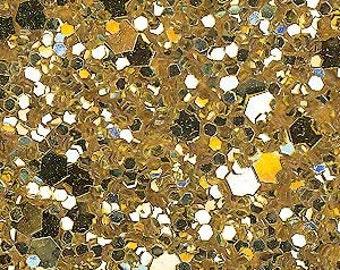 Glitter Fabric. Metallic Gold. 100cm x 130cm. JR08978