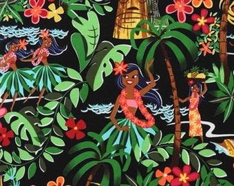 Alexander Henry Leis, Luaus and Alohas - Hawaiian Tiki Hula Girl Fabric - Black - Per 1/2 metre - 100% Cotton