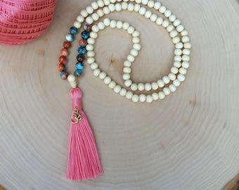 108 Mala Bead Tassel Necklace, Bohemian Jewelry, Handmade Jewelry YOGA Meditation Yoga Bead Necklace, Prayer Bead, Buddhist Jewelry