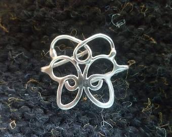 Mini, Sturdy, Sterling Butterfy Tab Shawl Pin.