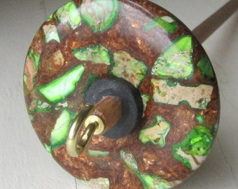 Green Jasper and Bronzite Stone Drop Spindle .95 ounces 27 grams Oak Shaft