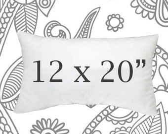 SALE ENDS SOON 12x20 Faux Down Pillow Insert, Pillow Forms, Cushions, Lumbar Size Pillows, Down Pillows, Soft Pillows, 12 x 20