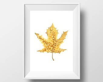 Yellow Leaf Print. Botanical Wall Art. Nature Print. Maple Leaf Painting. Alcohol Ink Art. Autumn Leaf Illustration. Fall Foliage.