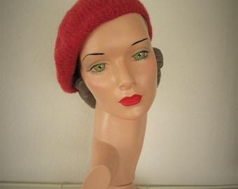 PDF Knitting Pattern Beret Vintage Style Hat Lux Beret 1950