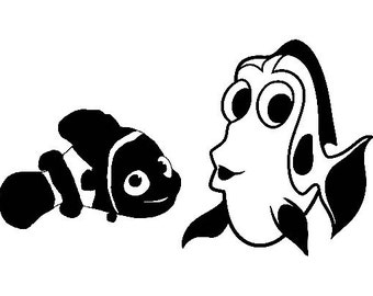 DIY Dory and Nemo Vinyl Decal, Car Window Decal, Laptop Decal, Tablet Decal, Cell Phone, Cartoon, Fish Decal, Finding Nemo Cartoon
