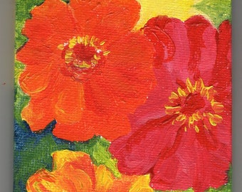 Zinnias Original mini painting on Canvas with Easel, Small orange, red, yellow flower decor,  miniature painting 3 x 3, easel