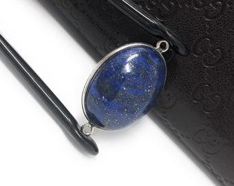 Lapis Lazuli, Gemstone Connector, Lapis Lazuli Connector, Bezel Connector, Jewelry Supplies, Jewelry Making, Jewelry Findings, 30x18x7.5mm