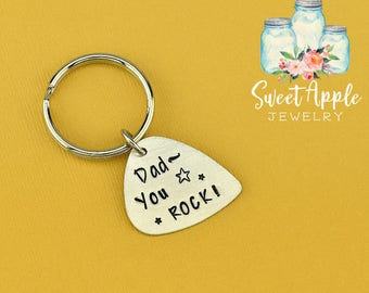 Dad You Rock Keychain, Dad Keychain, Guitar Pick Keychain, Guitar Keychain, Pick Keychain, Dad Gift, Fathers Keychain, Fathers Day Keychain