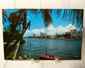 "As Is Vintage Miami Beach Postcard 3.5"" x 5.5"", Hotel Row and Indian Creek Photo, Nautical View, South Florida Travel Souvenir"