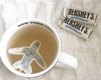 Plane shaped tea bags, pastel aeroplanes, gift travel