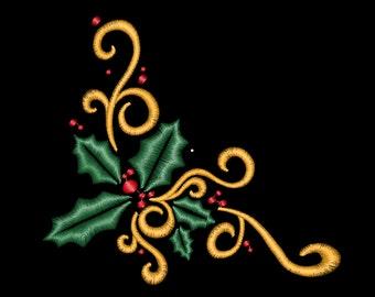 Holly Corner flourish swirls christmas design in 3 sizes in Machine Embroidery Design File Digital Download