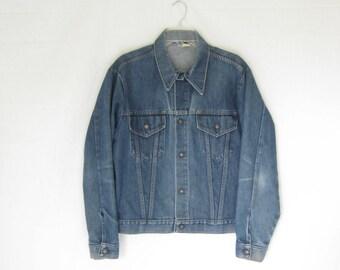 Vintage 70s Sears Two Pocket Denim Trucker Jacket. Mens Medium