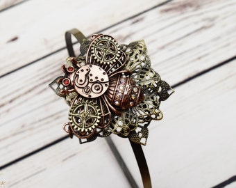 Handcrafted Steampunk Bee Headband - Bee Jewelry - Hair Ornament - Steampunk Cosplay - Copper and Brass - Steampunk Adult Headband - Flower