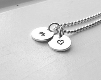 Tiny Heart Initial Necklace, Sterling Silver Jewelry, Heart Necklace, All Letters Available, Letter n Necklace, Hand Stamped, Charm Necklace