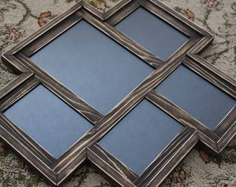MULTI 5 Opening distressed rustic pine collage picture frame with 1) 8x10's and 4) 5x7's ... dark walnut stain....HANDMADE