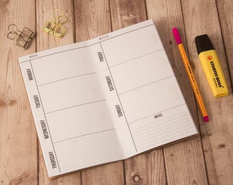 Weekly planner, Fauxdori, Midori insert, Travelers notebook, Midori notebook, Fauxdori inserts, Undated planner, Weekly insert midori