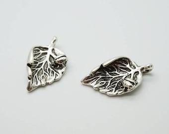 SET of 3 3D leaf Ladybug luck charm lucky Silver (D26)