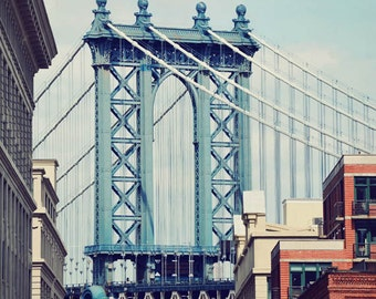 New York artwork, NYC photography, Manhattan Bridge, Brooklyn art, New York photograph, vertical print - Bridge of Blue