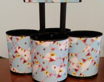 FREE SHIPPING- Picnic BarBQ Flatware Caddy made from 30 oz tin cans.