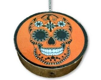 Day of the Dead Orange Round Wood Fan / Light Pull