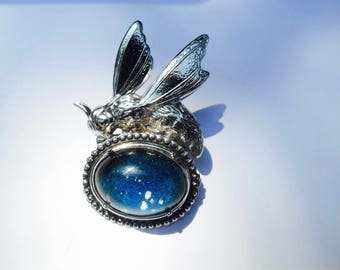 Mood Jewelry, Bee Brooch, Silver Brooch, Mood Brooch