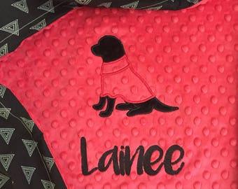 Black Lab Baby Blanket | Gender Neutral Dog Baby Blanket | Personalized Dog Baby Blanket | Puppy Baby Blanket