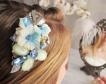Something Blue No.93 - OOAK Vintage Jewel Assemblage Bridal headband / Tiara